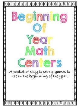 Math Centers - Beginning of Year