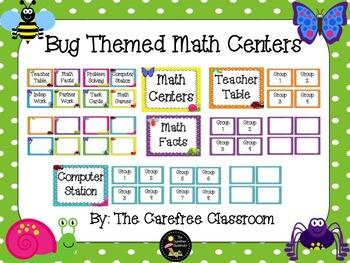 Math Centers: Bug Themed EDITABLE