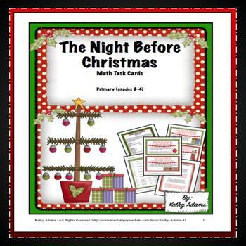 Math Task Cards Christmas Twas the Night Before Christmas