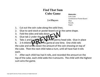 Math Centers Coin Cube Game