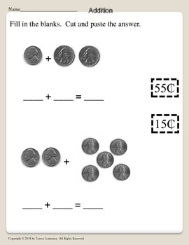 Coin Facts Add & Subtract Math Centers or Bell Ringers