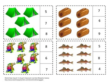 Camping Counting to 20 Count and Clip Kindergarten Math Special Education Math