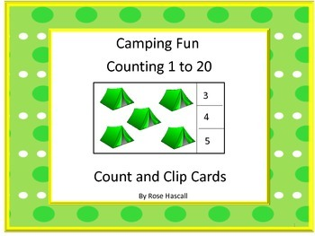 Task Cards Camping Fun 1 to 20 Count and Clip Cards