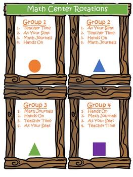 Math Centers Display Woodland Camping Theme