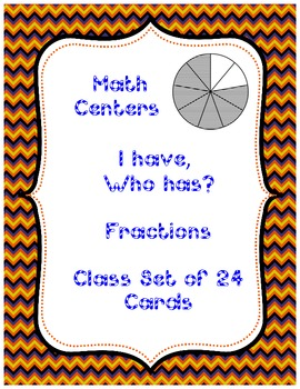 Math Centers Fraction Game- I have, Who has?  (halfs-tenths) CCSS