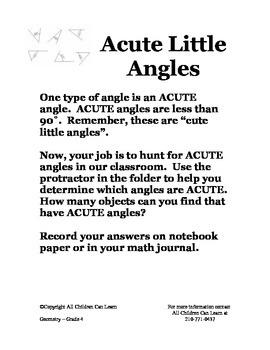 Math Centers Grade 4 Geometry