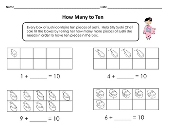 Around the World: Kindergarten Math Centers: How Many to Ten - Sushi To Go