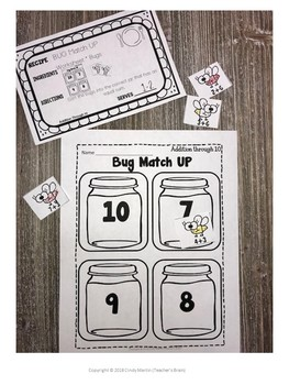 Math Centers Kindergarten - Addition to 10 Worksheets and Activities