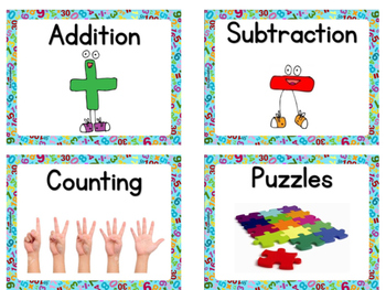Math Centers Labels