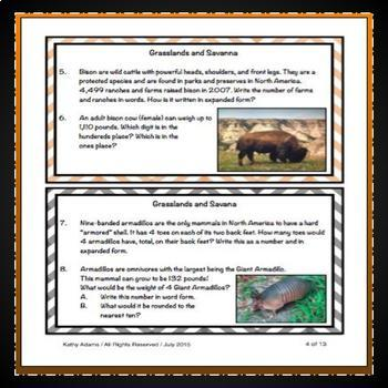 Mammals Math Task Cards