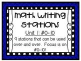 Math Centers - Math Writing Stations - Unit 1: #0-10