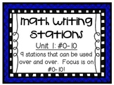 Math Centers - Math Writing Stations - Unit 1: #0-10