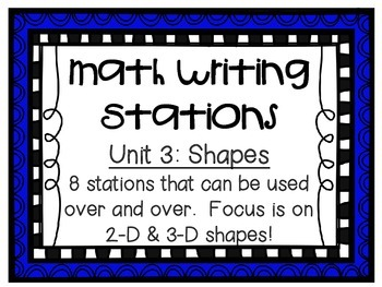 Math Centers - Math Writing - Unit 3: Shapes