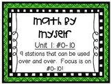 Math Centers - Math by Myself - Unit 1: #0-10