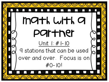 Math Centers - Math with a Partner - Unit 1: #0-10