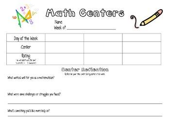 Math Centers Menu