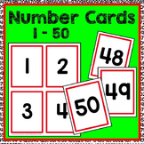 Number Cards 1-50 Math Center