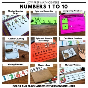 Kindergarten Math Centers and Worksheets