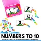 Kindergarten Math Centers and Worksheets