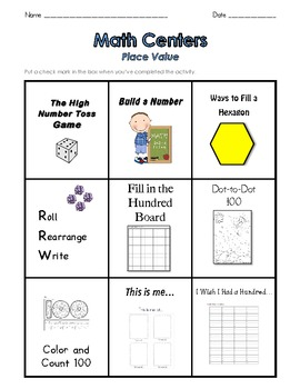 Math Centers – Place Value – Work Board and 9 Games and Activities – Grades 1-6