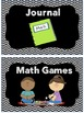 Math Centers Signs Rotation Cards Black and White Chevron