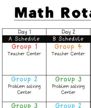 Math Centers Rotation Schedule