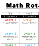 Math Centers Rotation Schedule