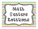 Math Centers Rotations FREEBIE