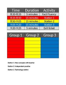 Math Centers Schedule