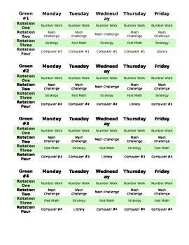 Math Centers Schedules