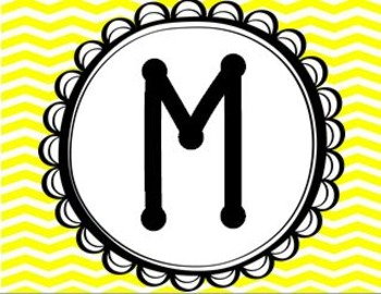 Math Centers Signs - Chevron and Polka Dots (Yellow, Blue, Grey, Teal)