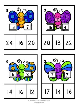 Math Centers - Solve, Clip and Glue - Garden Themed