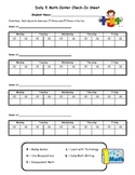 Math Centers Student Log Sheet  (BUILD)