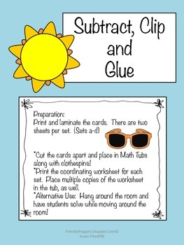 Math Centers - Subtract, Clip and Glue-Summer themed