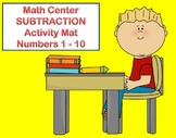 Math Center Subtraction Activity Mat with numbers 1-10