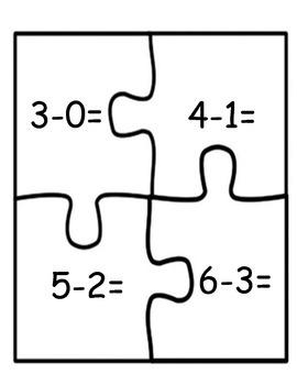 Math Centers: Subtraction Puzzles 1-12