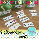 Math Centers- Subtraction within 20 sort