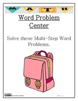 Math Centers Word Problem - Multi-Step CCSS
