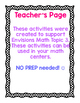 NO PREP Math Centers adapted from Envisions Math: Topic 3