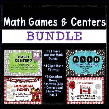Math Centers and Activities Growing Bundle (Canadian Money Content)