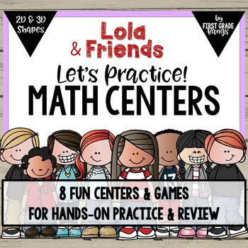Math Centers for Geometry (2D & 3D Shapes) with Lola