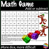 Math Centre Game Dice Game Year 1 and 2 Teach ADDITION SUBTRACTION Strategy