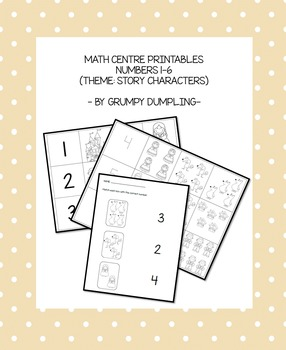 Math Centre Printables (Numbers 1-6) Story Characters