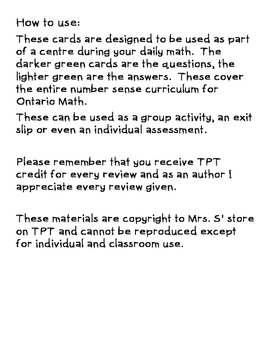 Number Sense/ Numeracy Math Centres and Exit Slips Junior