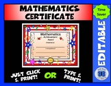 Math Certificate - Numbers Theme - Editable