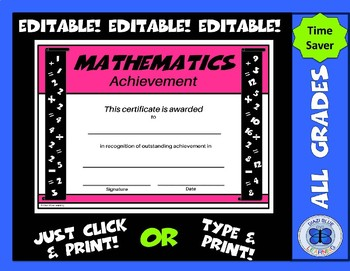 Math Certificate - Editable