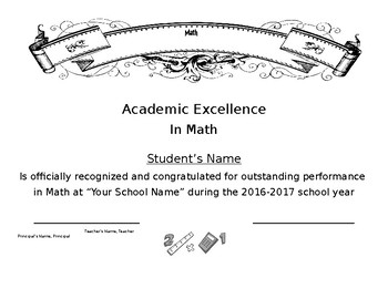 Math Certificate Simple Easy Generic End of School Year Award