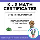 Math Certificates for Little Detectives | K - 2 | Printable Awards | For Math