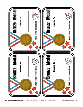 Math Facts Challenge - Medal Award Certificates