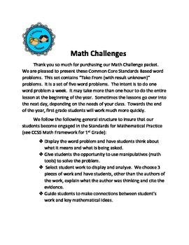 """Math Challenges Set #2 CCSS Word Problems"""" Take From/ Result Unknown"""""""